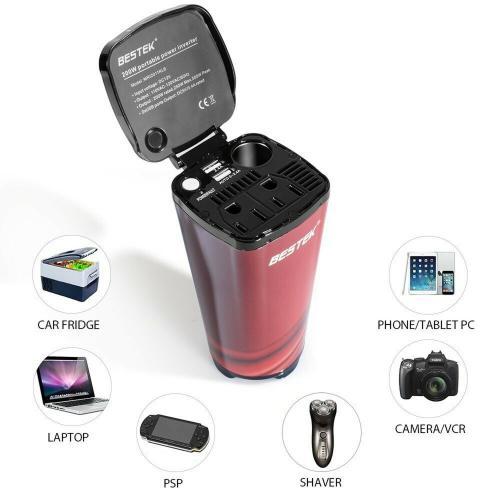 BESTEK 200W Power Inverter DC 12V to AC 230V 240V 3-in-1 Car Charger Cigarette Lighter Socket Plus AC Plug Plus Dual USB Charging Ports Voltage Converter